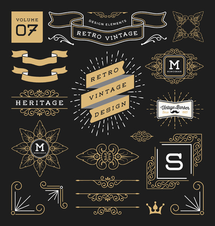 Set of retro vintage graphic design elements. Sign, frame labels, ribbons, symbols, crowns, corner, flourishes line and ornaments. Ilustração