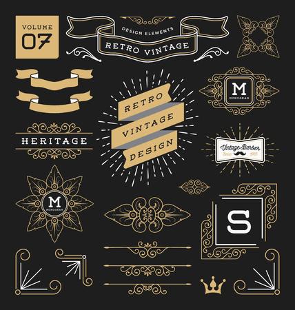 Set of retro vintage graphic design elements. Sign, frame labels, ribbons, symbols, crowns, corner, flourishes line and ornaments. Illustration