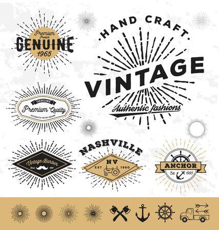 sunburst: Vintage sunburst and label elements.