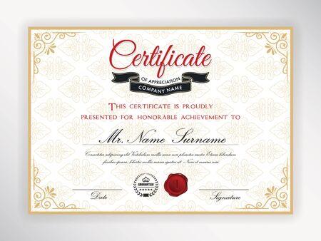 Certificate of achievement template design. Vektorové ilustrace