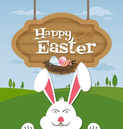 face  illustration: Happy Easter and smiling bunny background.