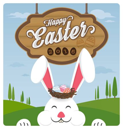 face  illustration: Happy easter and smiling rabbit greeting card.