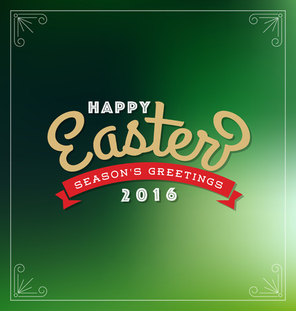 title emotions: Happy Easter 2016 Lettering Greeting Card With Blurred Background. Vector illustration