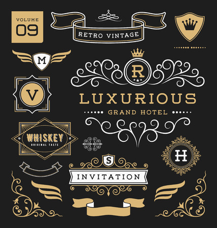 design layout: Set of retro vintage graphic design elements. Sign, frame labels, ribbons, logo symbols, crowns, flourishes line and ornaments. Suitable for Hotel, Restaurant, Invitation and more. Vector illustration