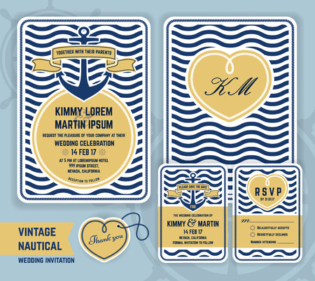 theme: Vintage nautical anchor wedding invitation template design. Include Invitation, respond cards, save the date, thank you tags, gift tags. Vector illustration Illustration