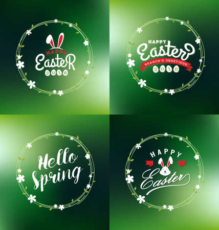 title emotions: Easter and Spring seasonal decorative ornaments design with typography lettering and foral wreath. illustration Illustration