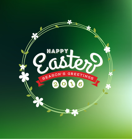 title emotions: Happy Easter 2016 Lettering Greeting Card With Flower Wreath on Blurred Background