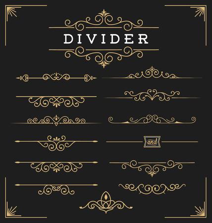 decorative line: Set of horizontal flourishes divider decorative elements. illustration