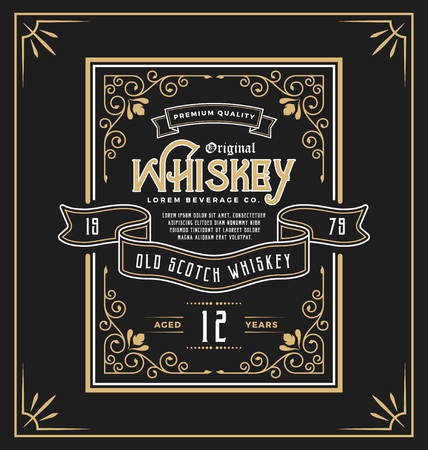 Vintage frame label for whiskey and beverage product. You can apply this for another product such as  Beer, Wine, Shop decoration, Luxury and Elegant business too. illustration  イラスト・ベクター素材