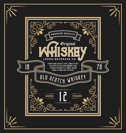 label marco de la vendimia para el whisky y el producto de bebida. Puede aplicar este para otro producto, como cerveza, vino, decoración de la tienda, de lujo y de negocios elegante también. ilustración Ilustración de vector