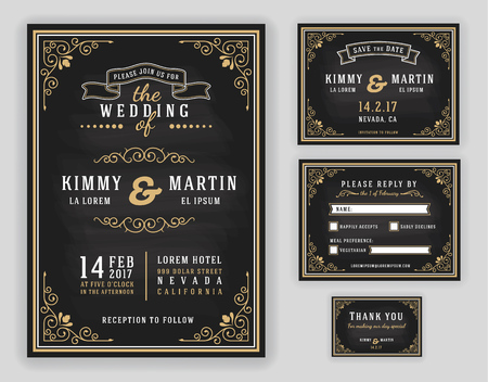 retro couple: Luxurious wedding invitation on chalkboard background. Include Invitation, RSVP card, Save the date, Thank you card. illustration Illustration