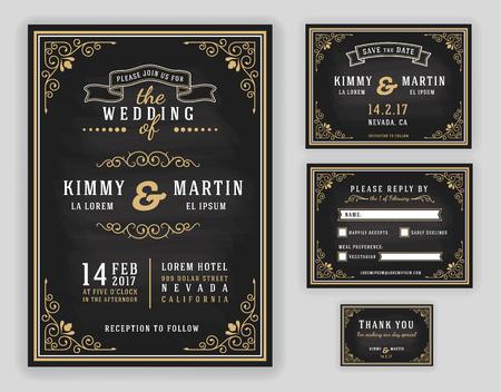 婚禮: 黑板背景豪華的婚禮請柬。包括邀請,RSVP卡,保存日期,感謝卡。插圖