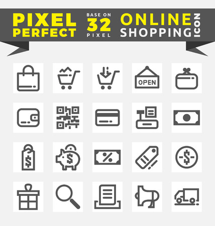 credit card icon: Set of Online Shopping Icons Base on 32 Pixel. This icons created on pixel perfect workflow. illustration
