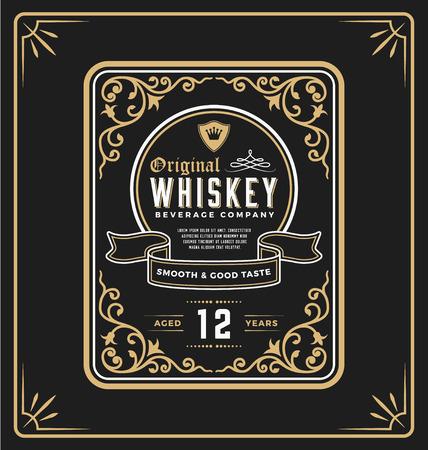 Vintage etykieta ramki do whisky i napoju. Można zastosować to dla innego produktu, takie jak piwo, wino, sklep dekoracji, luksusowe i eleganckie biznes też. ilustracja Ilustracje wektorowe