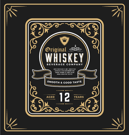 Vintage frame label for whiskey and beverage product. You can apply this for another product such as Beer, Wine, Shop decoration, Luxury and Elegant business too. illustration