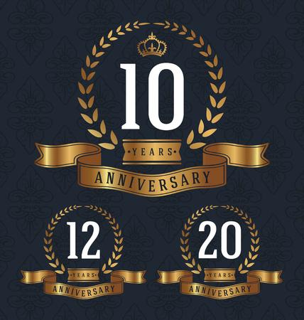10 12 years: 10,12,20 Years Anniversary decorative sign. illustration