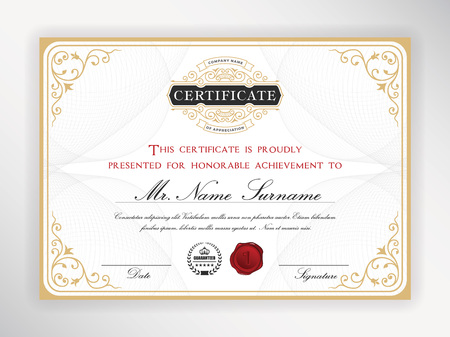 Elegant certificate template design with emblem, vintage border. A4 size + Bleed