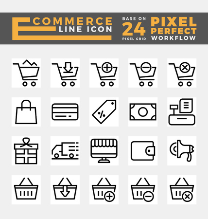 pixel perfect: Set of E-commerce and Online Shopping Icons Base on 24 Pixel Grids. This icons created on pixel perfect workflow. illustration