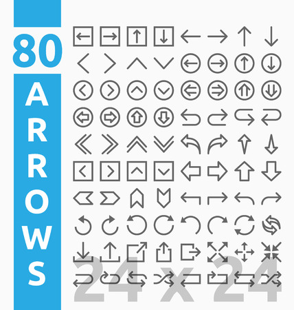 loops: 80 Arrow outline icons for user interface and web project base on 24 pixel grids. Minimal navigation sign and symbols collections. illustration