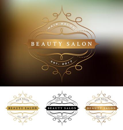 Belleza salón de diseño del marco con la línea prospera. Conveniente para el salón de belleza, spa, masajes, cosmética decorativa.