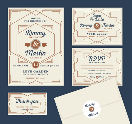 date: Art Deco Letterpress Wedding Invitation Design Template. Include RSVP card, Save the date card, thank you tags. Classic Vintage Style Frame illustration. Illustration
