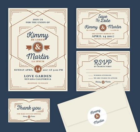 dattes: Invitation de mariage d'art déco Typographie Modèle de conception. Inclure carte RSVP, sauvez la carte de date, merci tags. Classique illustration vintage de style de cadre.