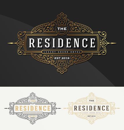 royal frame: Vintage flourish frame template for Residence, Restaurant, Hotel, Real Estate and Boutique Identity. illustration