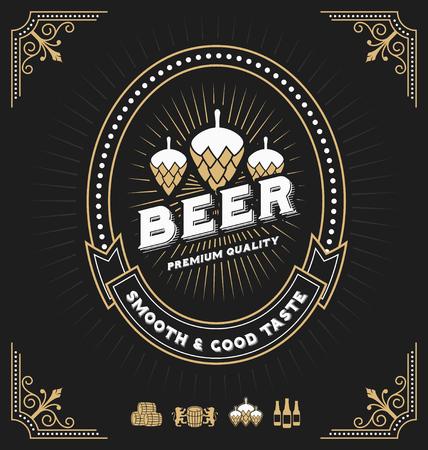 Diseño Vintage marco para etiquetas, bandera, etiqueta y otro diseño. Adecuado para el whisky, la cerveza y el producto de primera calidad. Todo tipo de uso de fuente libre.