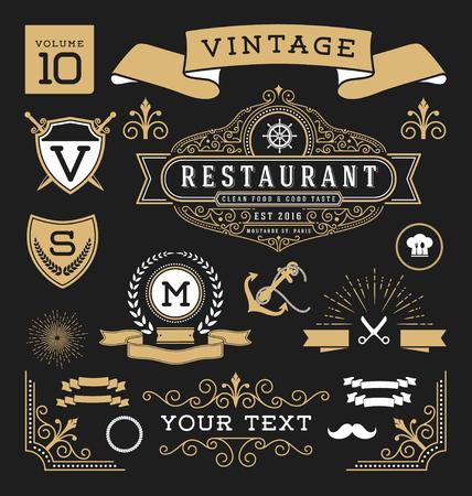 Conjunto de elementos de diseño gráfico retro vintage. Señal, etiquetas de fotogramas, cintas, símbolos, coronas, florece la línea y adornos. Ilustración de vector
