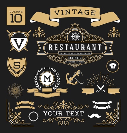 Set of retro vintage graphic design elements. Sign, frame labels, ribbons, symbols, crowns, flourishes line and ornaments.