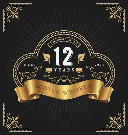 Modèle d'étiquette de cadre vintage adapté pour anniversaire, whisky, vin, bannière de magasin et autre design. Illustration vectorielle