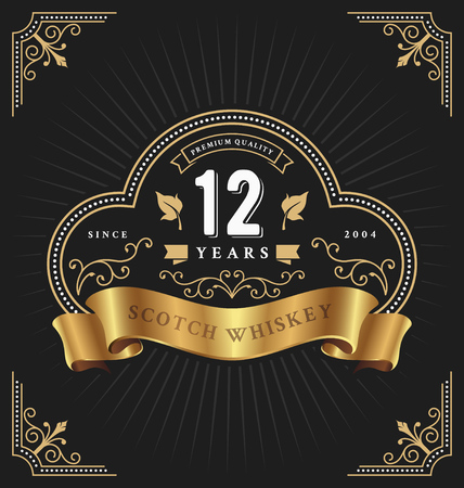 Vintage frame label template suitable for anniversary, whiskey, wine, shop banner and other design. Vector illustration Çizim