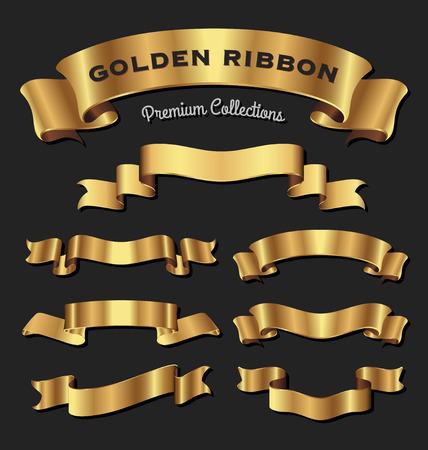 あなたのデザインのプレミアム黄金リボンのセットです。ベクトル図  イラスト・ベクター素材