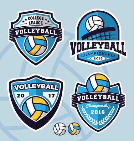 Conjunto de diseño del logotipo de la plantilla de voleibol para la ropa, prendas de vestir y otros de diseño. ilustración vectorial