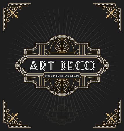 Art-Deco-Rahmen und Label-Design geeignet für Luxuus Geschäft wie Hotel, Spa, Immobilien, Restaurant, Schmuck. Vektor-Illustration