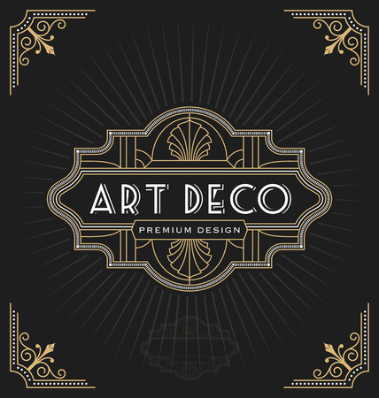 Marco de art decó y diseño de etiqueta adecuado para negocios lujosos como hoteles, spa, bienes raíces, restaurantes, joyas. Ilustración vectorial