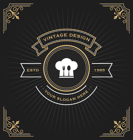 retro restaurant: Retro vintage food and restaurant logo decorative design. Vector illustration Illustration
