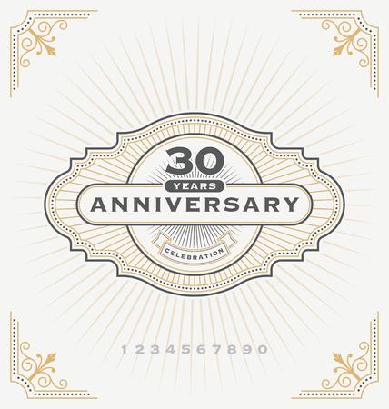anniversary celebration: Vintage anniversary celebration message emblem label. Vector illustration