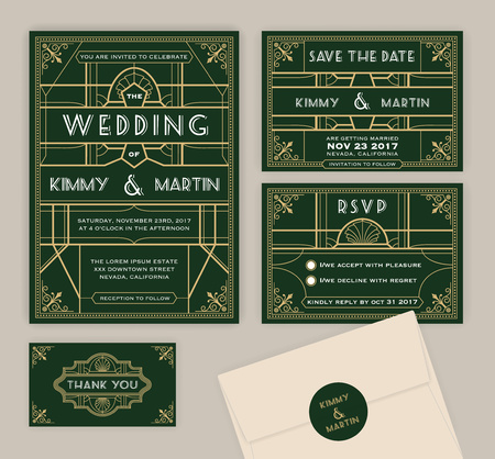 Emerald green art deco wedding invitation template. Art deco frame and invitation card. Include Wedding invitation, Save the date card, RSVP card, Thank you card. Vector illustration