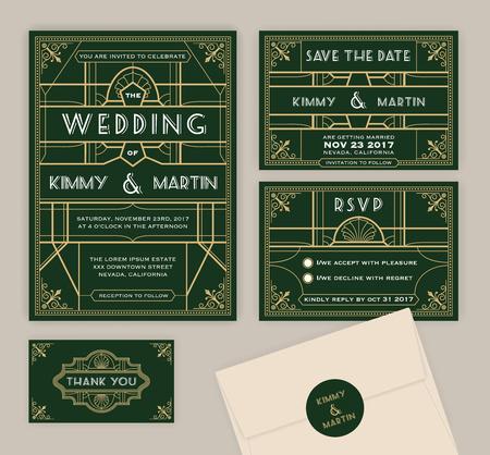 Emerald green art deco wedding invitation template. Art deco frame and invitation card. Include Wedding invitation, Save the date card, RSVP card, Thank you card. Vector illustration