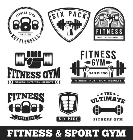 Set of fitness gym and sport club logo emblem design. Vector illustration 矢量图像