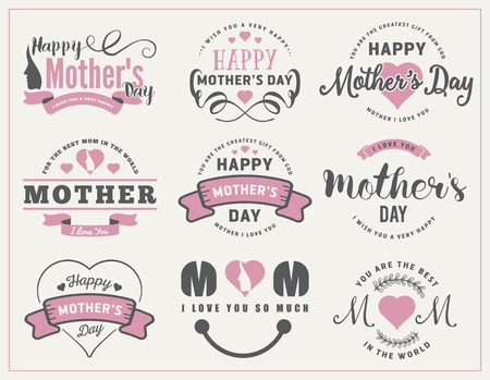 Beautiful Mothers Day Badges and Labels Design for decoration, sticker, gift tags, web banner and other design.
