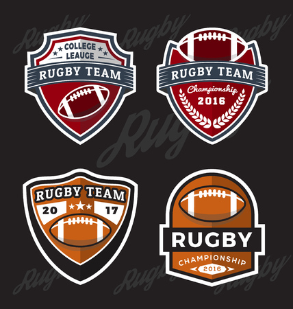 major league: Set of Rugby and Football  Template Suitable for T-shirt apparel design. Vector illustration