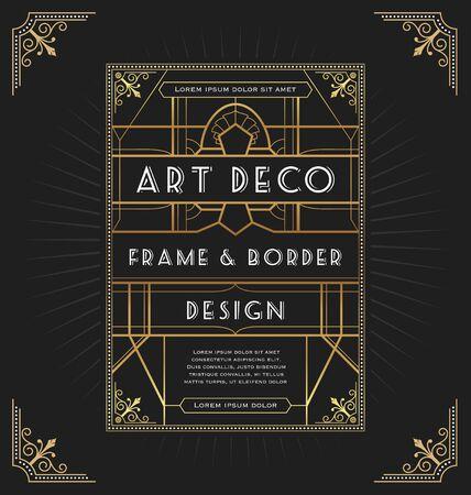 Art deco frame design for your design such as invitation, print, banner. Vector illustration