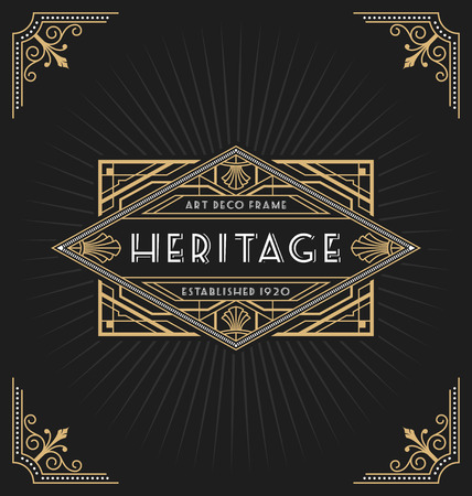 art deco border: Art deco frame and label design suitable for Luxurious Business such as Hotel, Spa, Real Estate, Restaurant, Jewelry and Product tags. Vector illustration