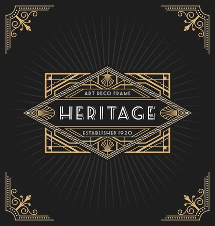 vintage: Art Deco ramki i projektowania etykiet nadaje się na luksusowe biznesowych, takich jak Hotel, Spa, nieruchomości, restauracja, biżuterię i Tagi produktów. ilustracji wektorowych Ilustracja