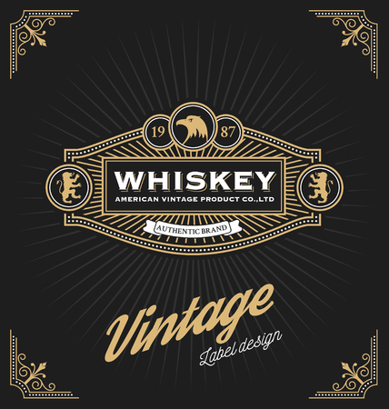 hotel resort: Vintage frame design for labels, banner, logo, emblem, menu, sticker and other design. Suitable for whiskey, beer, coffee shop, hotel, resort, jewelry and premium product. All type use free font. Illustration