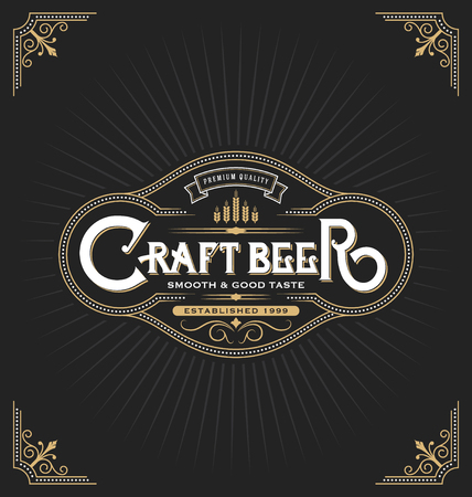 banner craft: Craft beer sticker label design. Vintage frame template suitable for beer, whiskey, brandy, resort, hotel and luxury place. Vector illustration