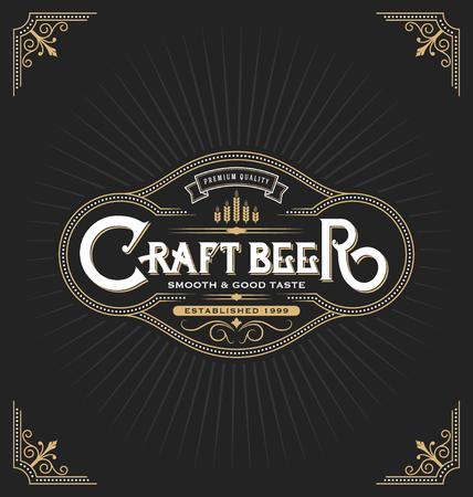 liquor: Craft beer sticker label design. Vintage frame template suitable for beer, whiskey, brandy, resort, hotel and luxury place. Vector illustration