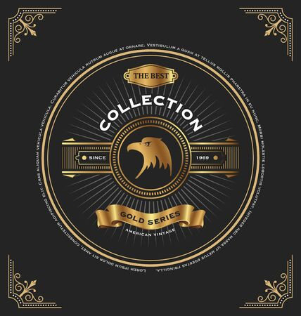 cd cover: Vintage gold series CD Cover template design. Circle frame design with the eagle and ribbon. Vector illustration Illustration